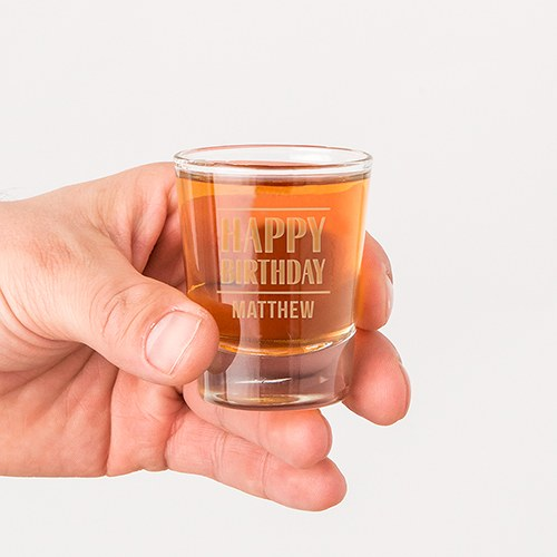 Personalized Clear 1 oz. Shot Glass - Happy Birthday