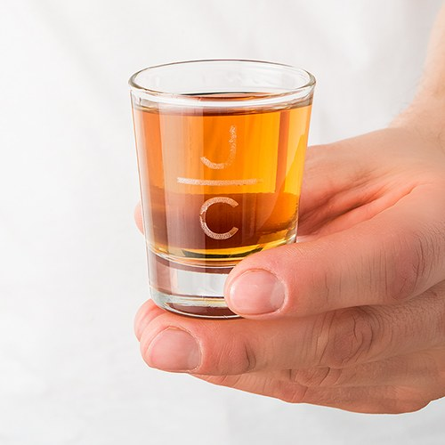 Personalized Shot Glass - Stacked Monogram Etching