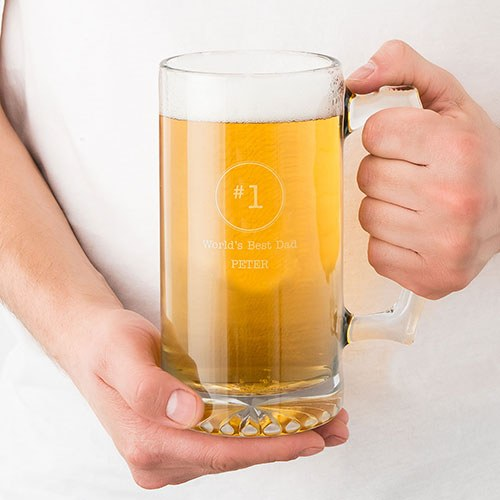 Personalized Large Glass Beer Mug – World's Best Engraving