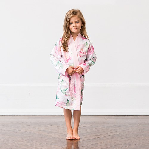 Personalized Flower Girl Satin Robe with Pockets- Pink Floral
