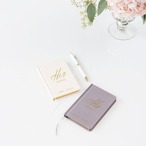 Ivory Linen Pocket Journal Her Vows Emboss