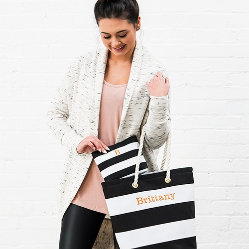 Bliss Striped Tote   Black and White