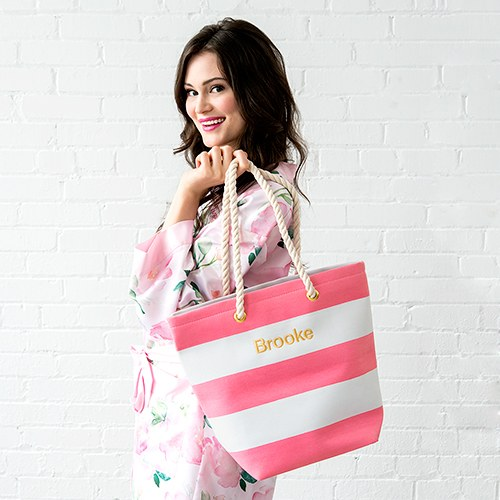 Bliss Striped Tote Pink and White