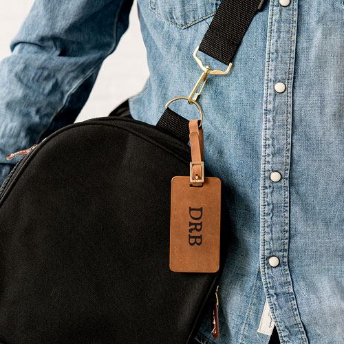 Tanned Genuine Leather Luggage Tag   Personalized