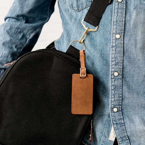 Tanned Genuine Leather Luggage Tag
