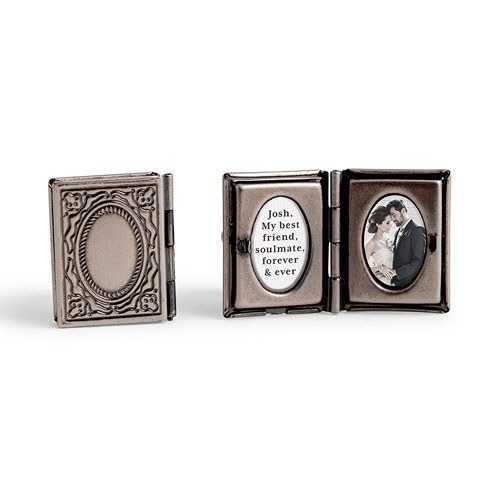 Vintage Book Locket Cufflinks Antique Silver