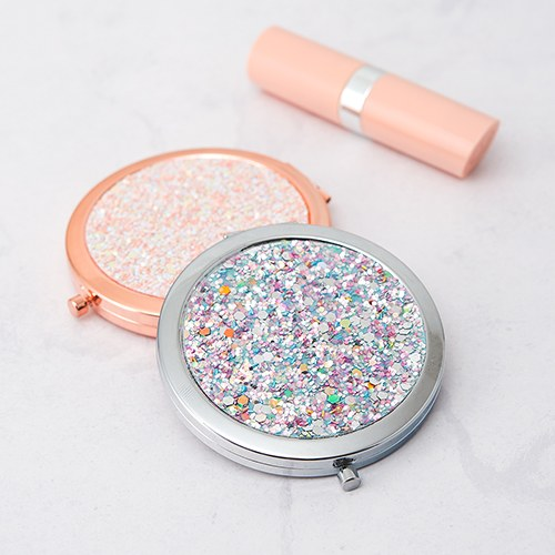 Personalized Silver Rainbow Glitter Compact Mirror