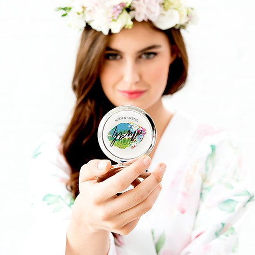 Personalized Engraved Bridal Party Pocket Compact Mirror - Mwah