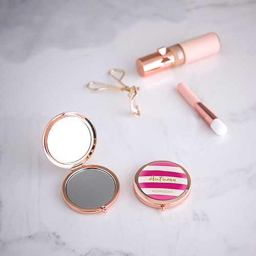 Designer Compact Mirror Striped Print