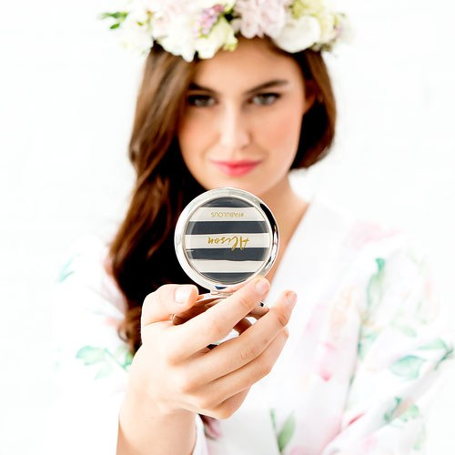 Personalized Engraved Bridal Party Compact Mirror - Horizontal Stripe