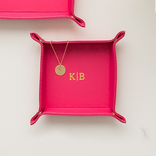 Personalized Vegan Leather Jewelry Tray– Gold Line Monogram Emboss