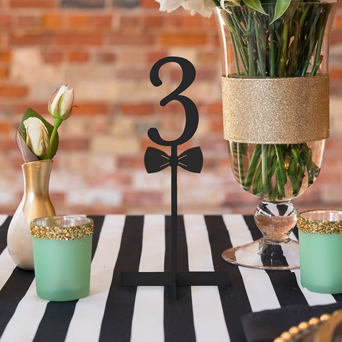 Black Bow Tie Table Number