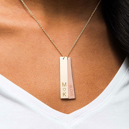 Personalized Vertical Tag Pendant – Monogram Heart Engraving