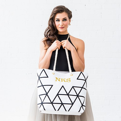 Geo Prism Tote - Black on White