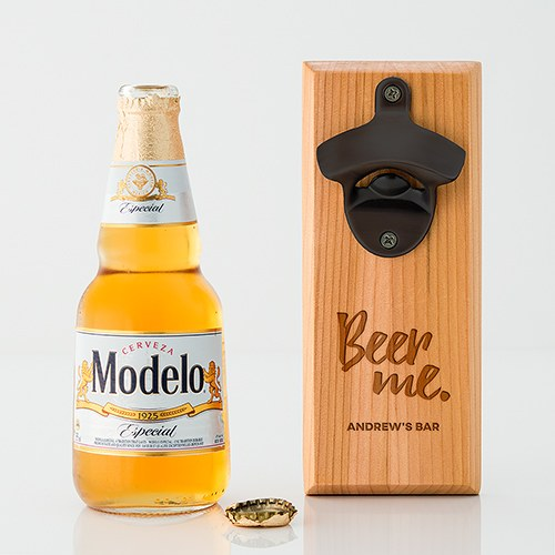 Cedar Wood Wall Mount Bottle Opener - Beer Me Etching