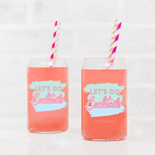 Personalized Can Shaped Drinking Glass – Let's Do Cocktails Print