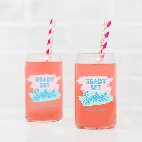 Personalized Can Shaped Drinking Glass – Ready Set Splash Print