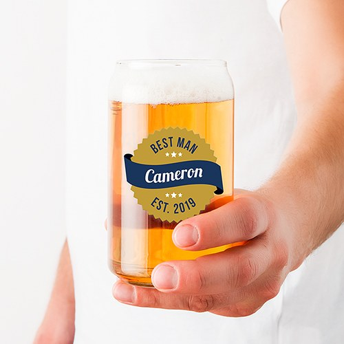 Personalized Can Shaped Drinking Glass – Gold Seal Print