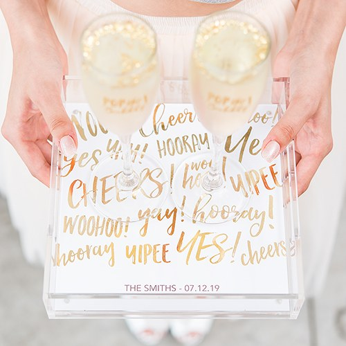 Small Personalized Square Acrylic Tray - Gold Celebration Foil Print