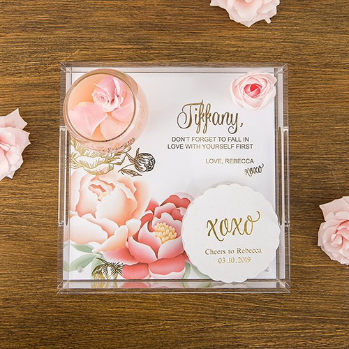 Small Personalized Square Acrylic Tray - Modern Floral Foil Print