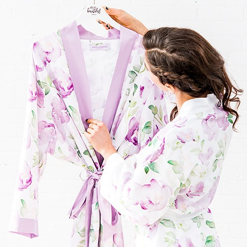 Women's Personalized Embroidered Floral Satin Robe with Pockets- Lavender