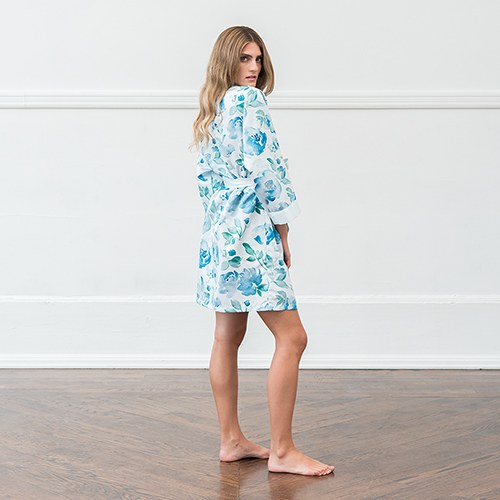 Women's Personalized Embroidered Floral Satin Robe with Pockets - Light Blue & Mint