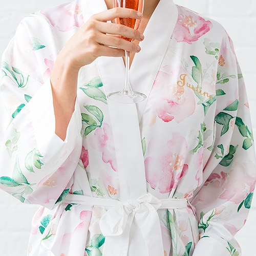 Pink Watercolor Floral Silky Kimono Robe On White - Relaxed Fit