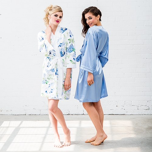 Blue Watercolor Floral Silky Kimono Robe On White - Relaxed Fit