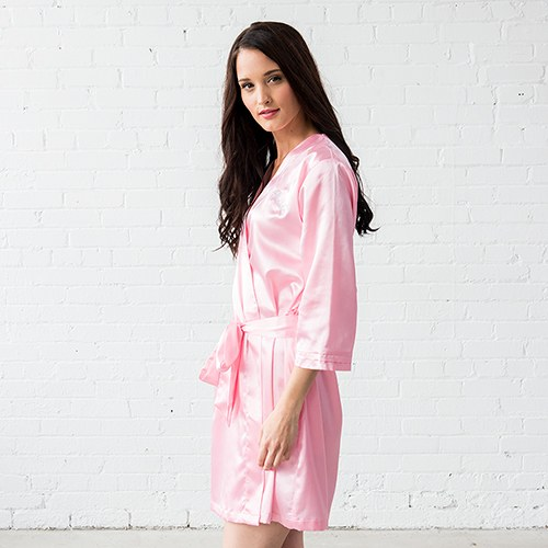 Silky Kimono Robe Light Pink - Relaxed Fit