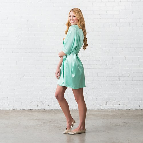 Silky Kimono Robe - Mint Green Relaxed Fit