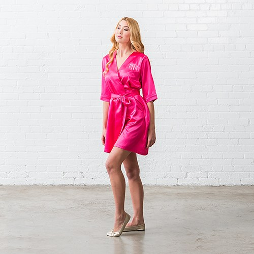Women's Personalized Embroidered Satin Robe with Pockets- Fuchsia Pink