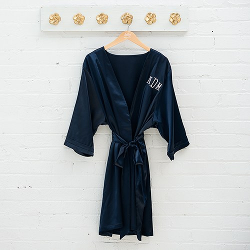 Silky Kimono Robe Navy Blue - Relaxed Fit