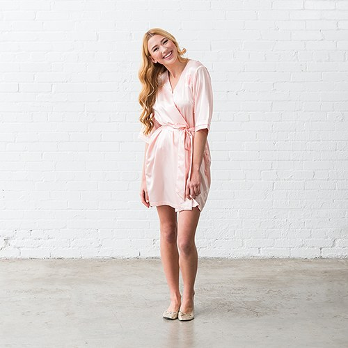 Silky Kimono Robe - Blush Pink Relaxed Fit