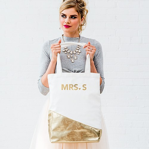 Gold Canvas Shopper Tote with Modern Foiling