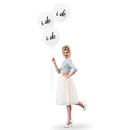Large White Round Wedding Balloon Decorations - I Do