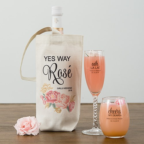 Modern Floral Personalized Natural Canvas Wine Tote Bag