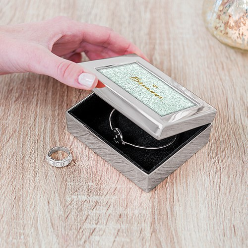 Small Modern Personalized Jewelry Box - Sweet Heart Print