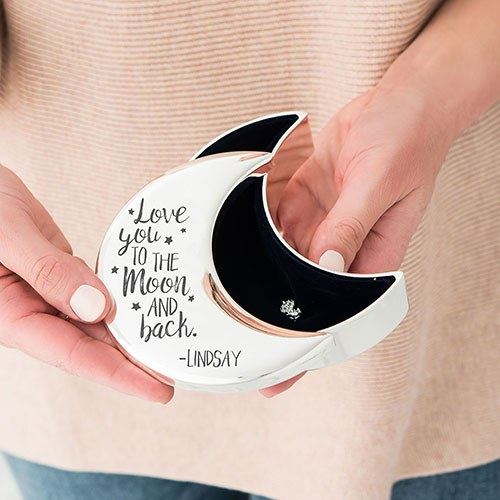 Small Personalized Silver Half Moon Jewelry Box – To the Moon and Back Engraving