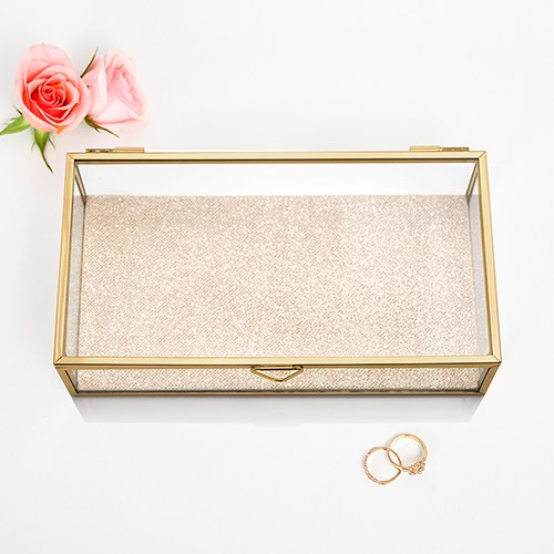 Glass Jewelry Box with Gold  Edges