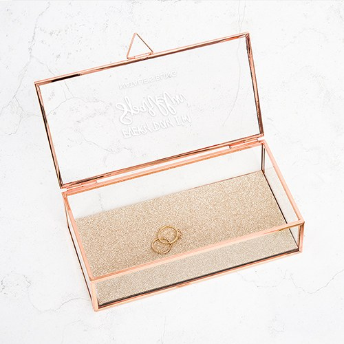 Large Personalized Rectangle Glass Jewelry Box– Every Day I'm Sparklin' Print