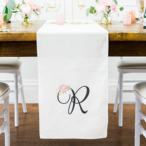 Personalized Off White Linen Table Runner - Modern Floral