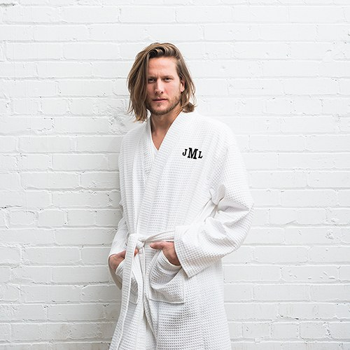 Cotton Kimono Men's Robe - White