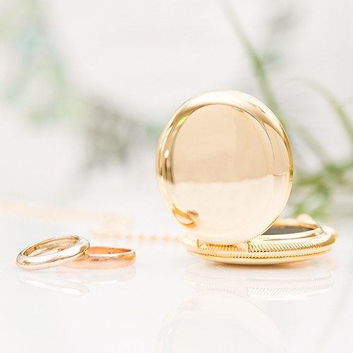 gold pocket wedding ring holder with chain - Wedding Ring Holder