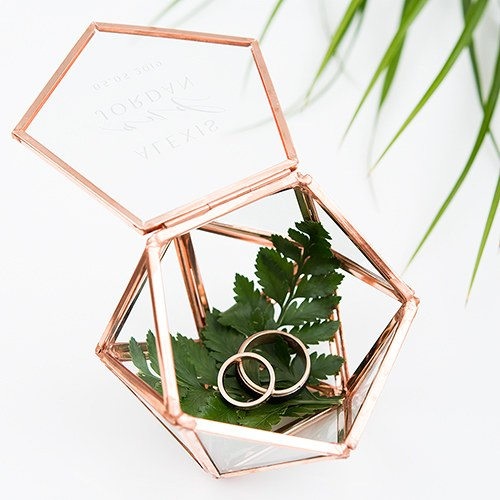 Small Glass Geometric Terrarium Style Ring Box - Modern Couple Etching