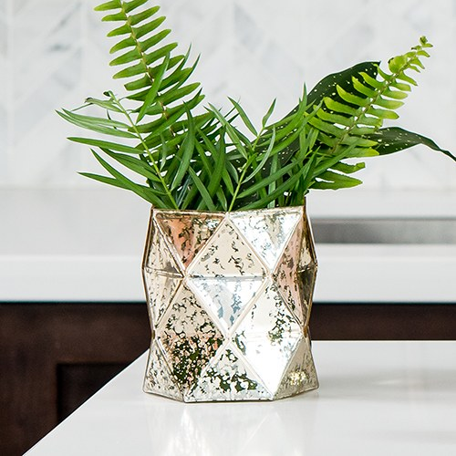 Gold Geo Mercury Glass Hurricane Vase