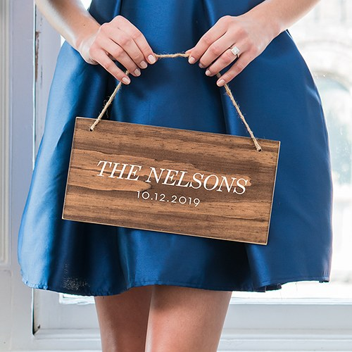 Small Personalized Wooden Wedding Sign - Natural - Classic Print