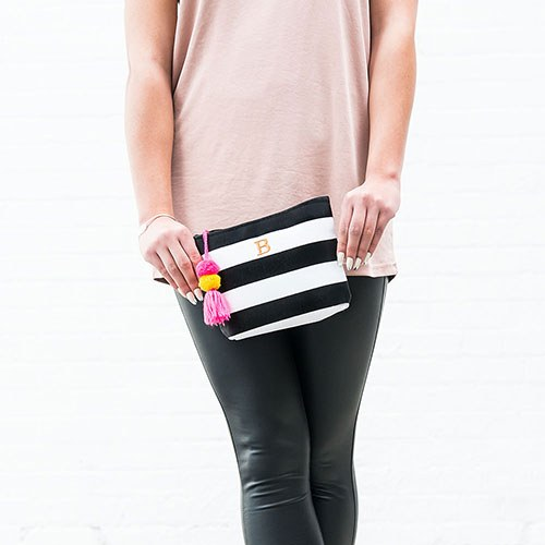 Bliss Striped Small Zipper Pouch - Black & White
