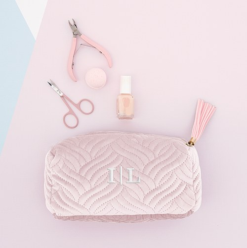 304656bf8feb Small Personalized Velvet Quilted Makeup Bag for Women- Blush Pink