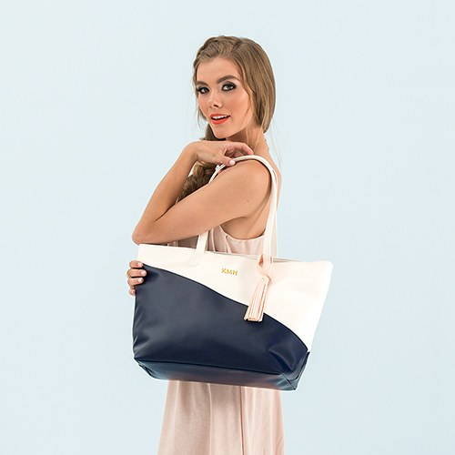 Faux Leather Color Block Tote Bag - Navy & White