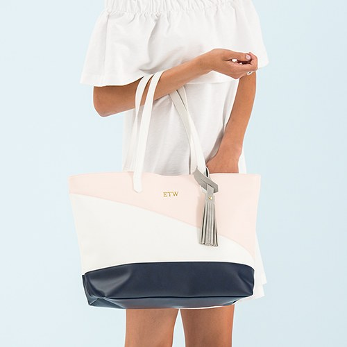 Faux Leather Color Block Tote Bag - Pink, Navy & White